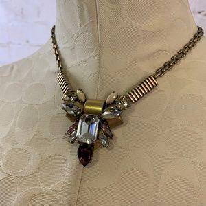 J. Crew Gemstone Rhinestone Cluster Necklace